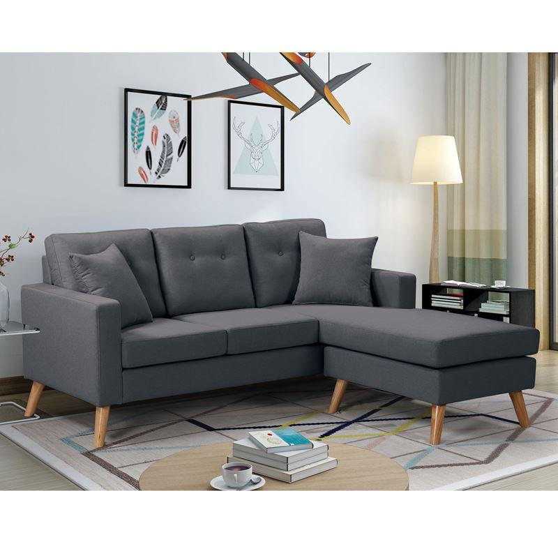Καναπές γωνία Alan αναστρέψιμος με επένδυση από ύφασμα σε χρώμα σκούρο γκρι 182x158x66εκ