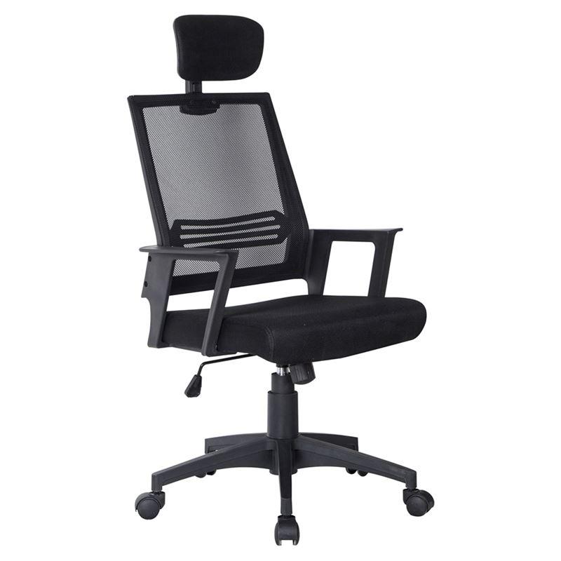 Πολυθρόνα διευθυντή με επένδυση από ύφασμα mesh σε χρώμα μαύρο 59x65x115/125εκ BF2008