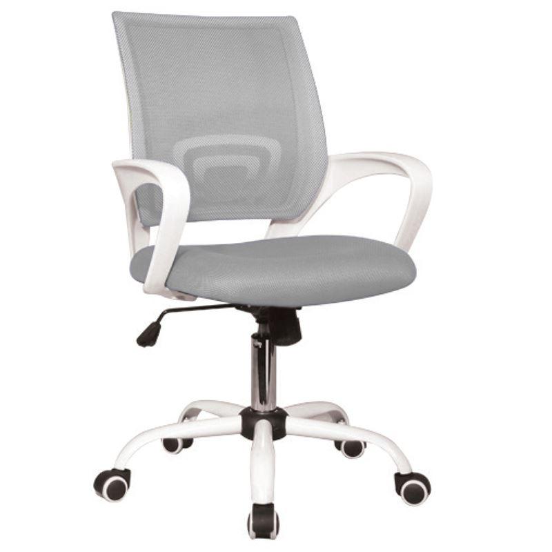 Πολυθρόνα διευθυντή με επένδυση από ύφασμα mesh σε χρώμα λευκό / γκρι 54x56x91 / 101εκ BF2101-S