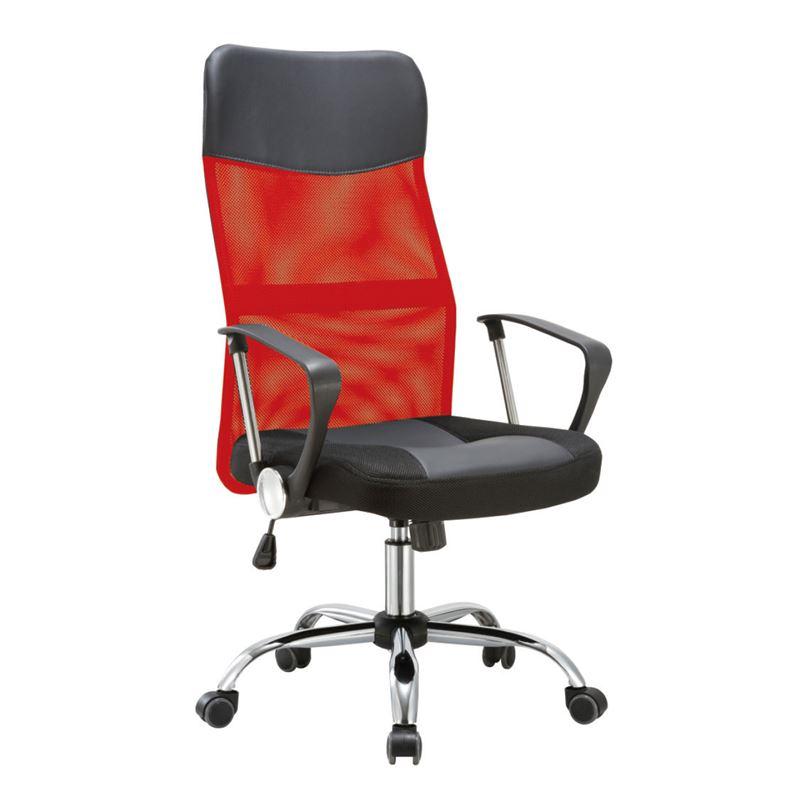 Πολυθρόνα διευθυντή με σκελετό χρωμίου και επένδυση από Pvc και ύφασμα mesh σε χρώμα κόκκινο / μαύρο 61x68x108/118εκ BF2400-PVC