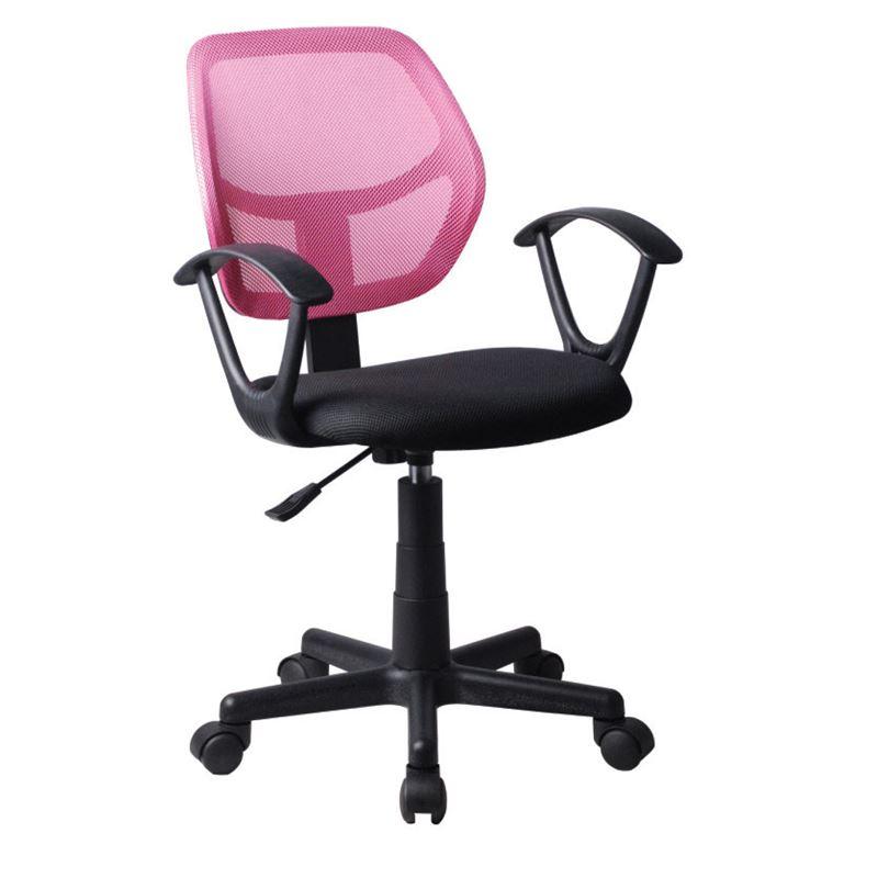 Πολυθρόνα εργασίας με ύφασμα mesh σε χρώμα ροζ / μαύρο 50x50x80/92εκ BF2740