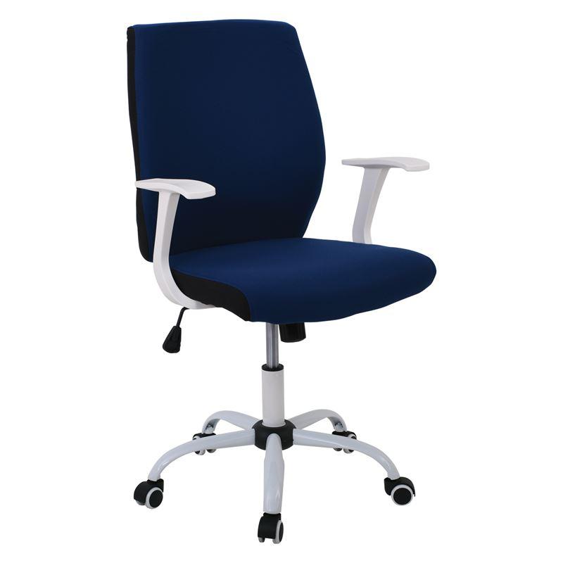 Πολυθρόνα εργασίας με λευκό σκελετό και επένδυση από ύφασμα σε χρώμα μπλε 61x57x94/104εκ BF3900