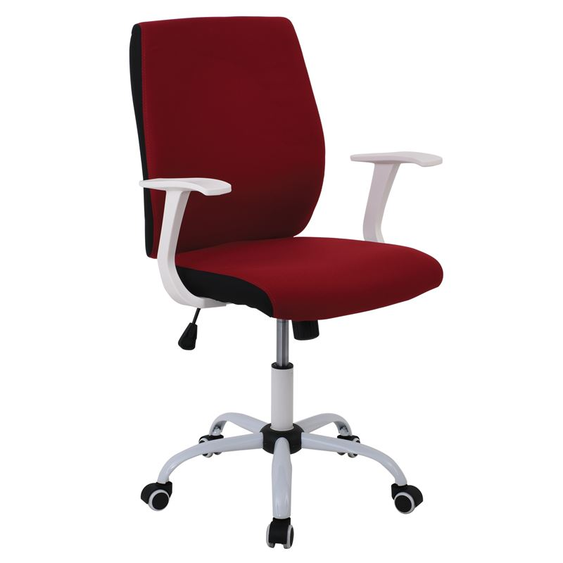 Πολυθρόνα εργασίας με λευκό σκελετό και επένδυση από ύφασμα σε χρώμα κόκκινο 61x57x94/104εκ BF3900
