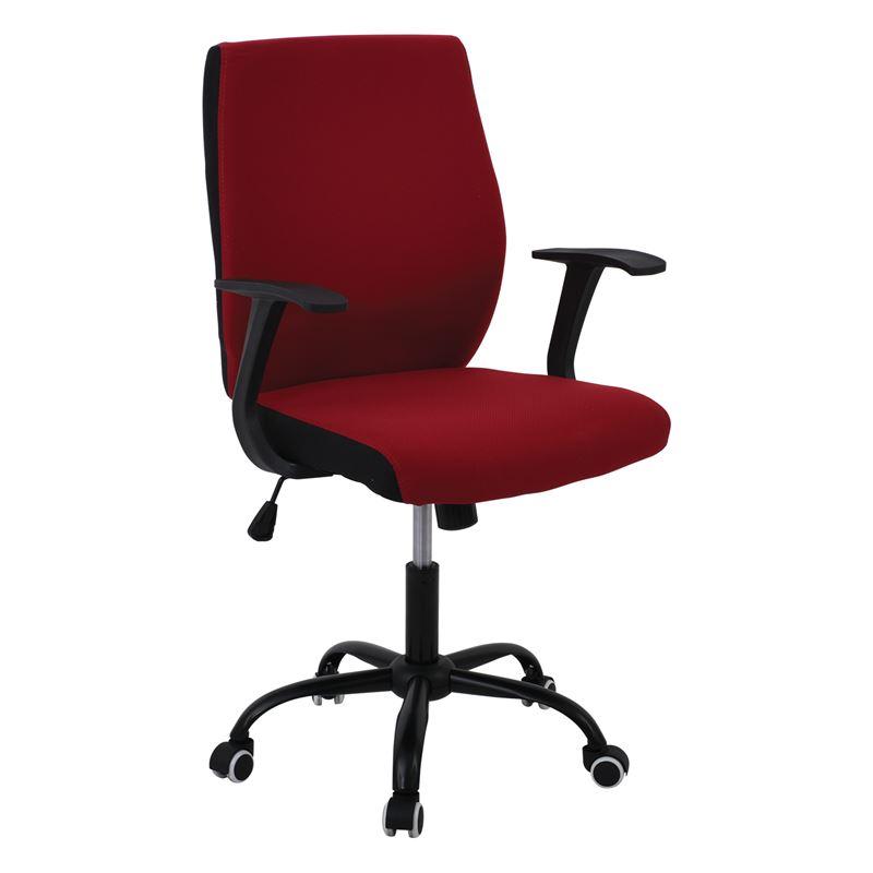 Πολυθρόνα εργασίας με μαύρο σκελετό και επένδυση από ύφασμα σε χρώμα κόκκινο 61x57x94/104εκ BF3900