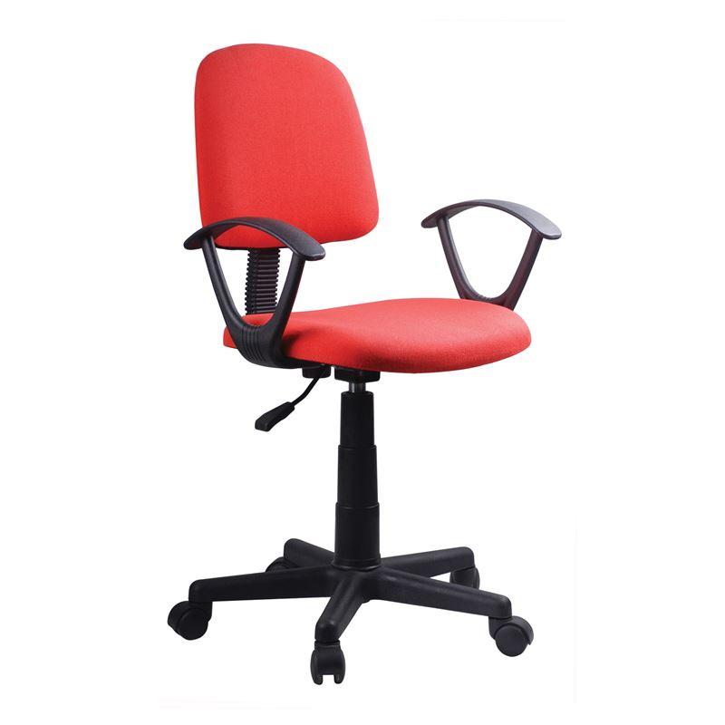Πολυθρόνα εργασίας με επένδυση από ύφασμα σε χρώμα κόκκινο 55x48x82/94εκ BF430