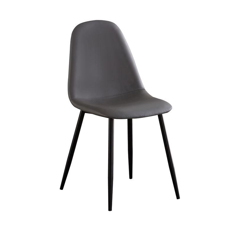 Celina Καρέκλα Μεταλλική Μαύρη, Pvc Γκρι