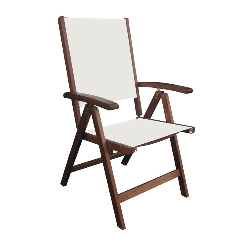 Πολυθρόνα Cricket 5 θέσεων πτυσσόμενη με ξύλινο σκελετό ακακίας και επένδυση από textilene σε χρώμα λευκό 58x70x105εκ