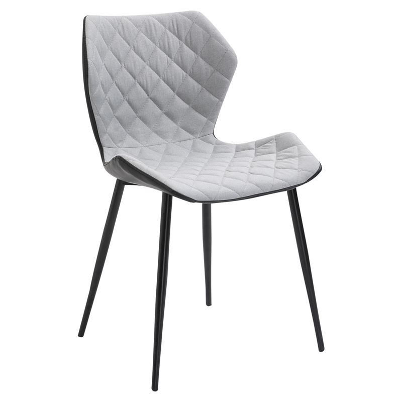 Καρέκλα David από μαύρο μεταλλικό σκελετό με επένδυση από μαύρο τεχνόδερμα Pu και ύφασμα σε χρώμα cappuccino 48x51x85εκ