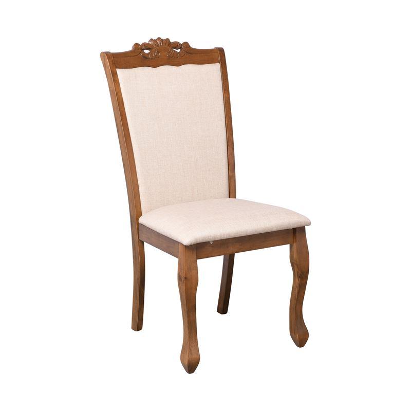 Deline Καρέκλα Αν.καρυδί/ύφασμα Μπεζ