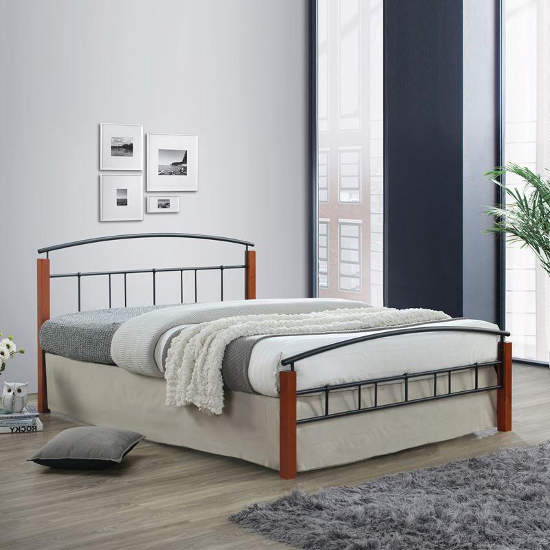 Doka Κρεβάτι (Για Στρώμα 160X200Cm) Μεταλ.μαύρο/ξύλο Καρυδί