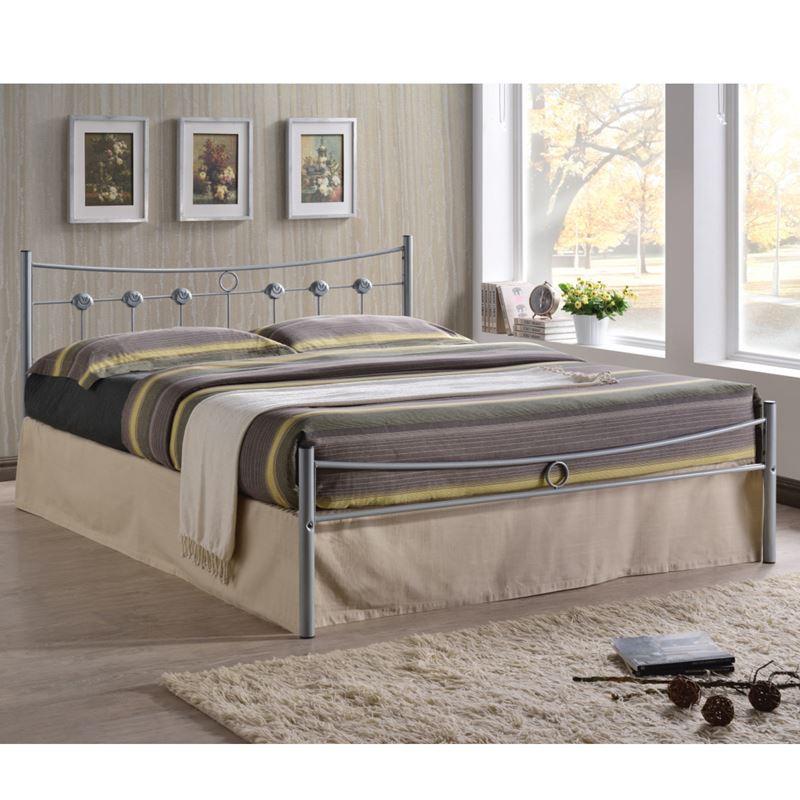 Dugan Κρεβάτι (Για Στρώμα 140X190Cm) Μεταλ.silver