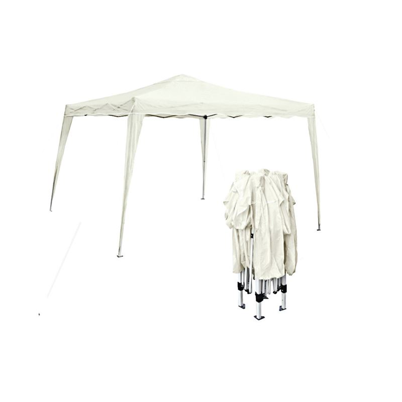 Gazebo Πτυσ/νο 3X3M Μεταλλικό Άσπρο/ύφασμα Άσπρο
