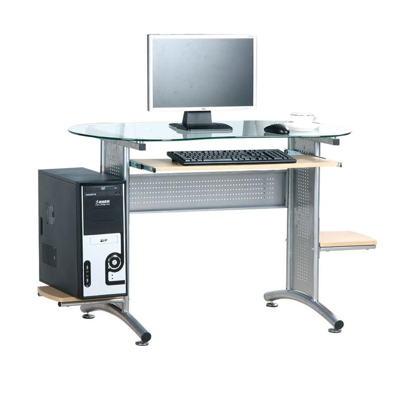 Γραφείο ηλεκτρονικού υπολογιστή με ασημί μεταλλικό σκελετό και γυάλινη επιφάνεια 132x59x75εκ