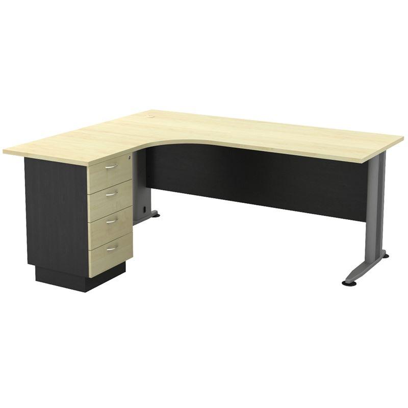 Γραφείο Superior Compact -Αρ- 180X70/150X60Cm Dg/beech