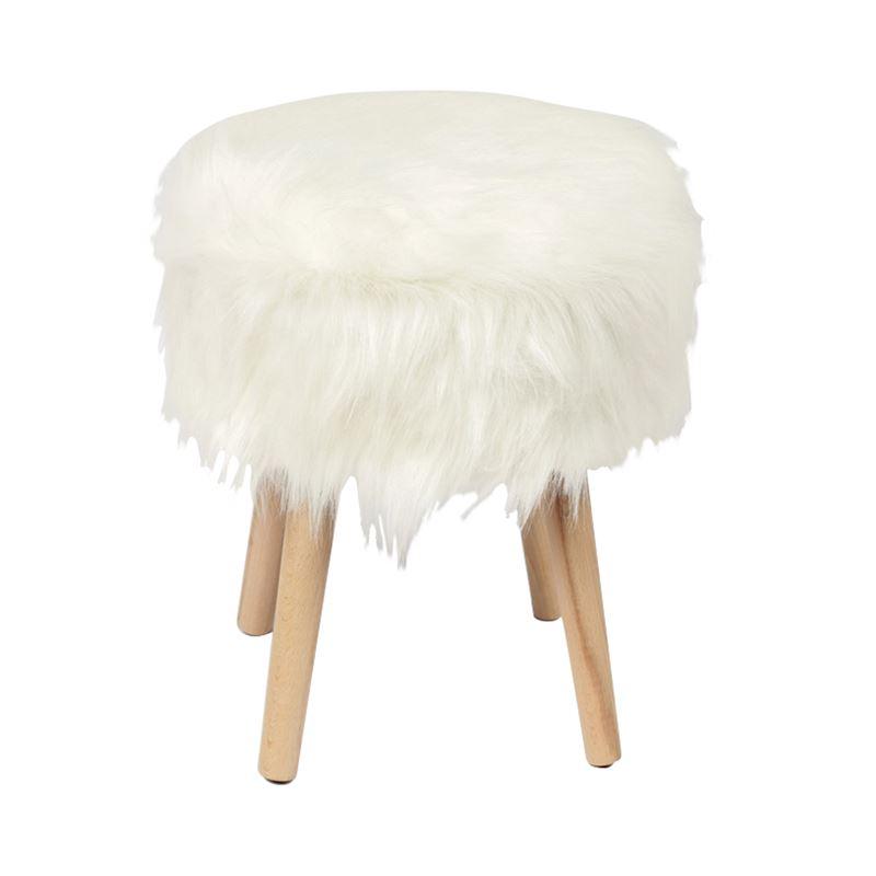 Σκαμπώ Jamo με επένδυση από συνθετική γούνα σε χρώμα λευκό 38x38x47εκ