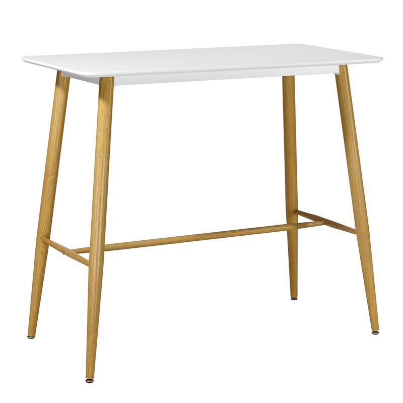 Lavida Τραπέζι Bar 120X60 Άσπρο, Μεταλ.φυσικό