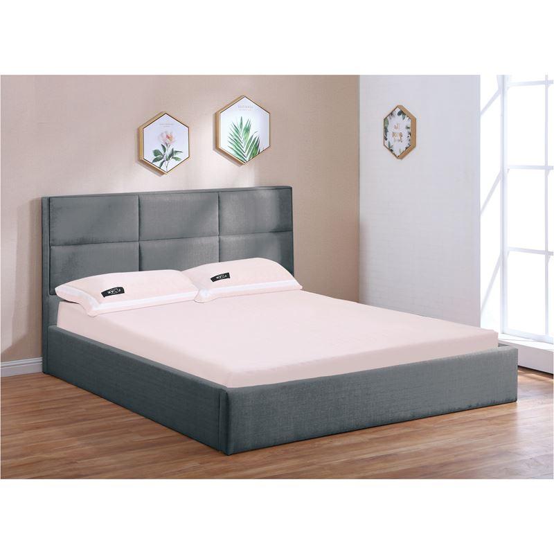 Κρεβάτι Max διπλό με αποθηκευτικό χώρο και επένδυση από ύφασμα σε χρώμα ανθρακί 160x200εκ