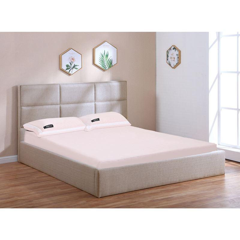 Κρεβάτι Max διπλό με αποθηκευτικό χώρο και επένδυση από ύφασμα σε χρώμα sand 160x200εκ