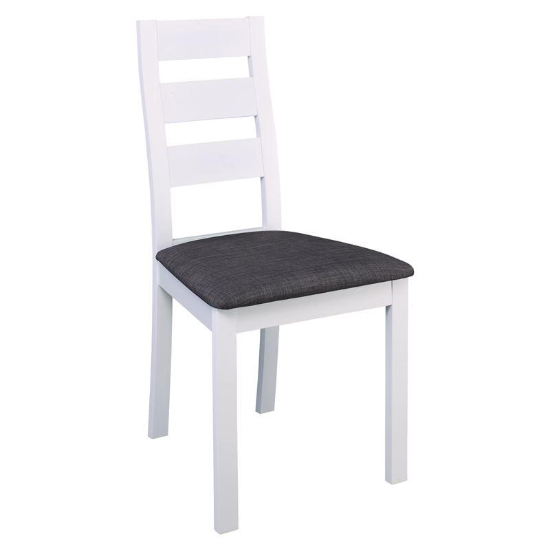Καρέκλα Miller με λευκό ξύλινο σκελετό οξιάς με επένδυση από ύφασμα σε χρώμα γκρι 45x52x97εκ