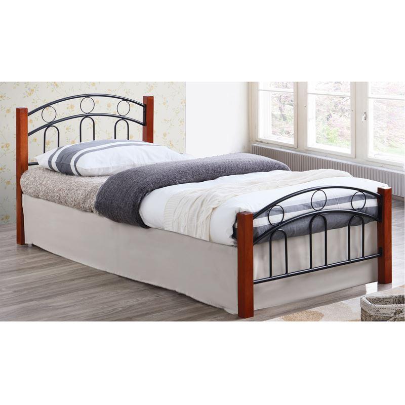Norton Κρεβάτι (Για Στρώμα 140X190Cm) Mεταλ.μαύρο/ξύλο Καρυδί