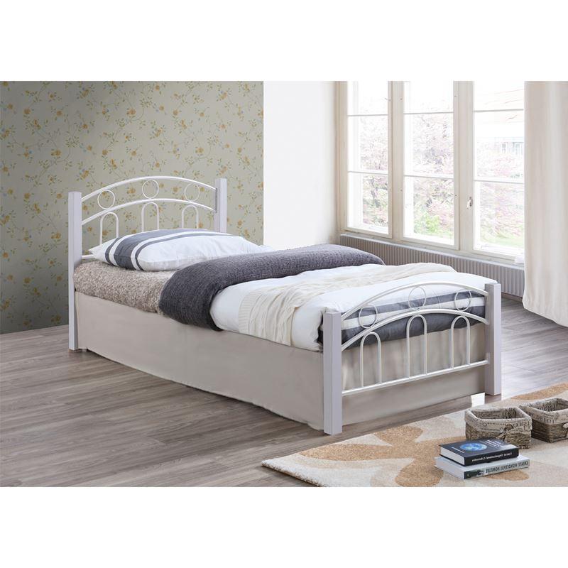 Norton Κρεβάτι (Για Στρώμα 90X190Cm) Μεταλ.άσπρο/ξύλο Άσπρο