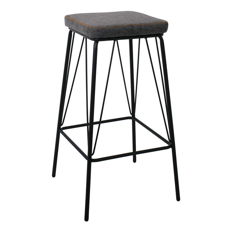 Panton Σκαμπώ Bar Μεταλ.μαύρο/pu Vintage Grey