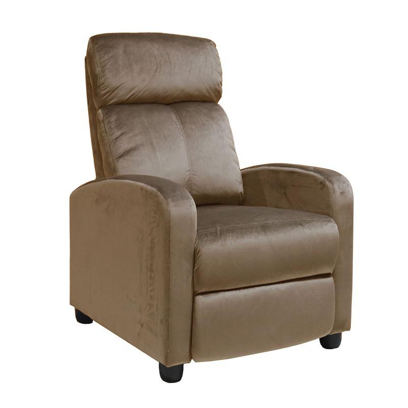 Πολυθρόνα relax Porter με επένδυση από ύφασμα velure σε χρώμα camel 68x86x99εκ