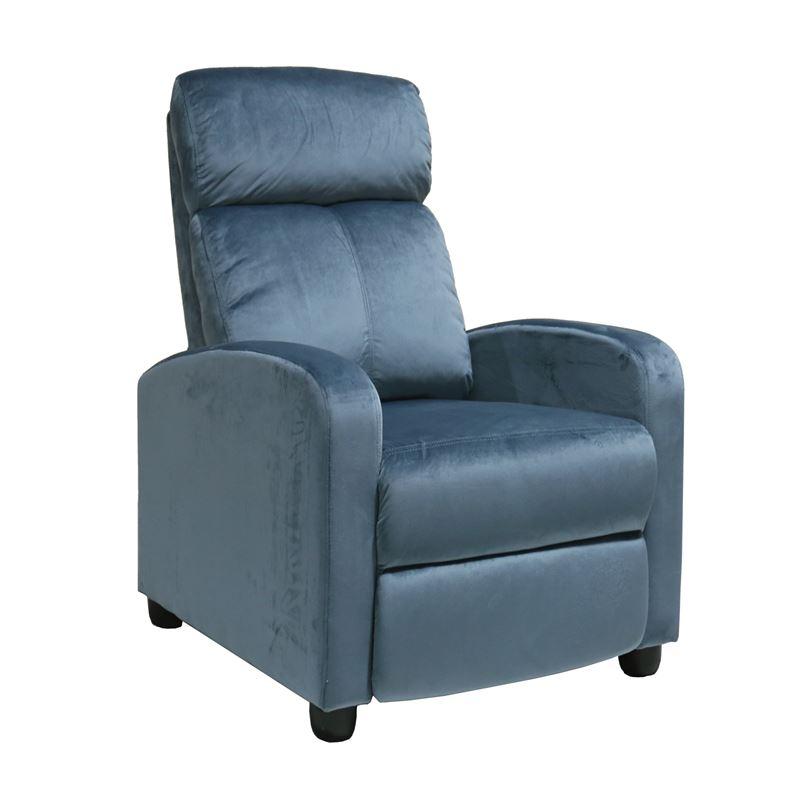 Πολυθρόνα relax Porter με επένδυση από ύφασμα velure σε χρώμα γκρι - μπλε 68x86x99εκ