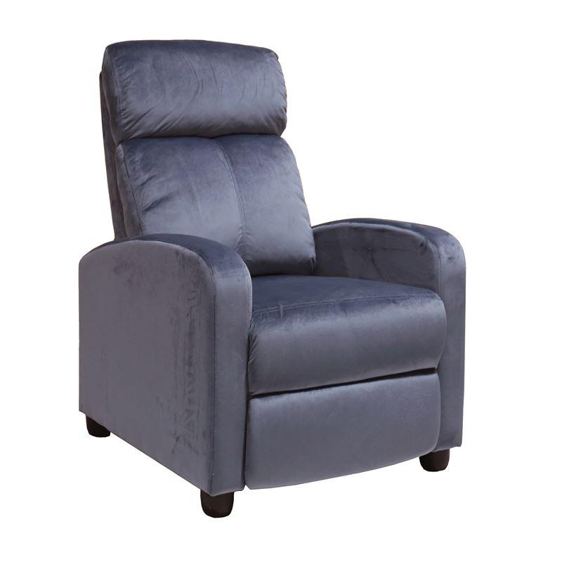 Πολυθρόνα relax Porter με επένδυση από ύφασμα velure σε χρώμα γκρι 68x86x99εκ