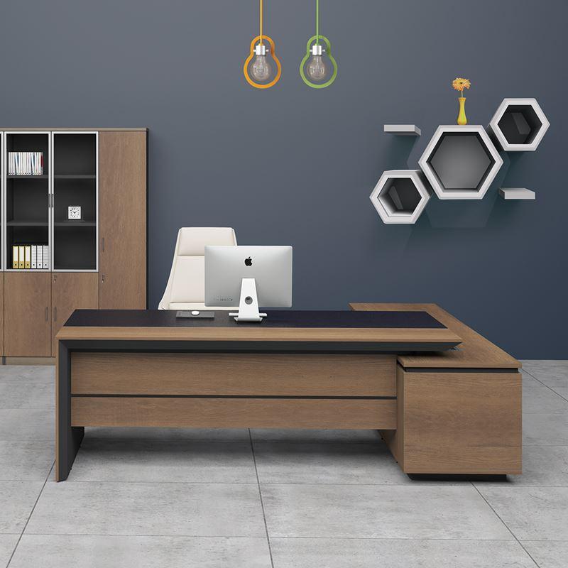 Proline Γραφείο -Αρ-180X160Cm Σκ.καρυδί/μαύρο ΕΟ810,L