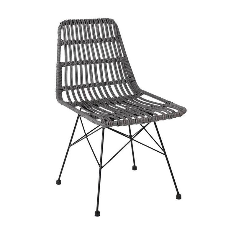Καρέκλα Salsa με μαύρο μεταλλικό σκελετό και επένδυση από wicker σε χρώμα γκρι 48x59x80εκ