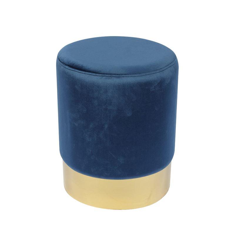 Sol Σκαμπώ Χρυσό/ύφασμα Μπλε Velure