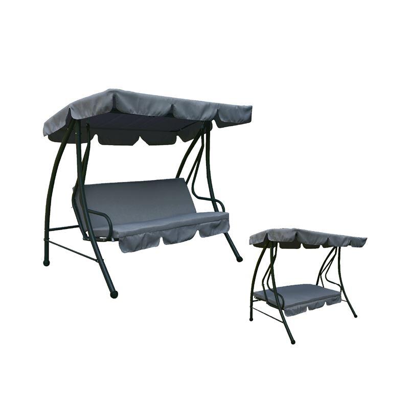 Κούνια Swing 3θέσια με κρεβάτι από ανθρακί μεταλλικό σκελετό και επένδυση από ύφασμα σε χρώμα γκρι 200x120x164εκ