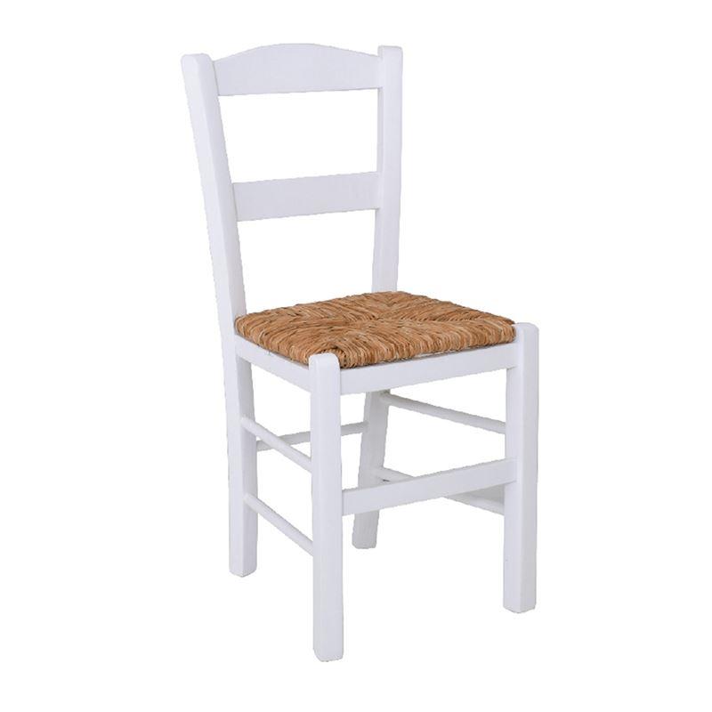 Καρέκλα Σύρος με επένδυση από ψάθα και ξύλινο σκελετό σε χρώμα λευκό