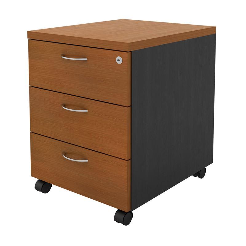 Συρταριέρα γραφείου με 3 συρτάρια από σκελετό μελαμίνης σε χρώμα σκούρο γκρι / κερασί 41x48x56εκ