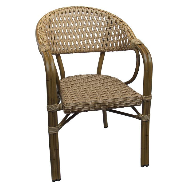 Πολυθρόνα Vegera αλουμινίου με επένδυση wicker σε χρώμα φυσικό 56x60x84εκ