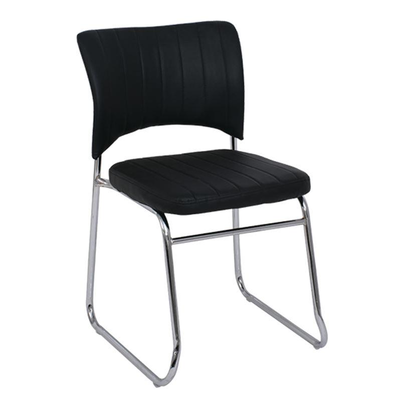 Venus Καρέκλα Χρώμιο/pu Μαύρο