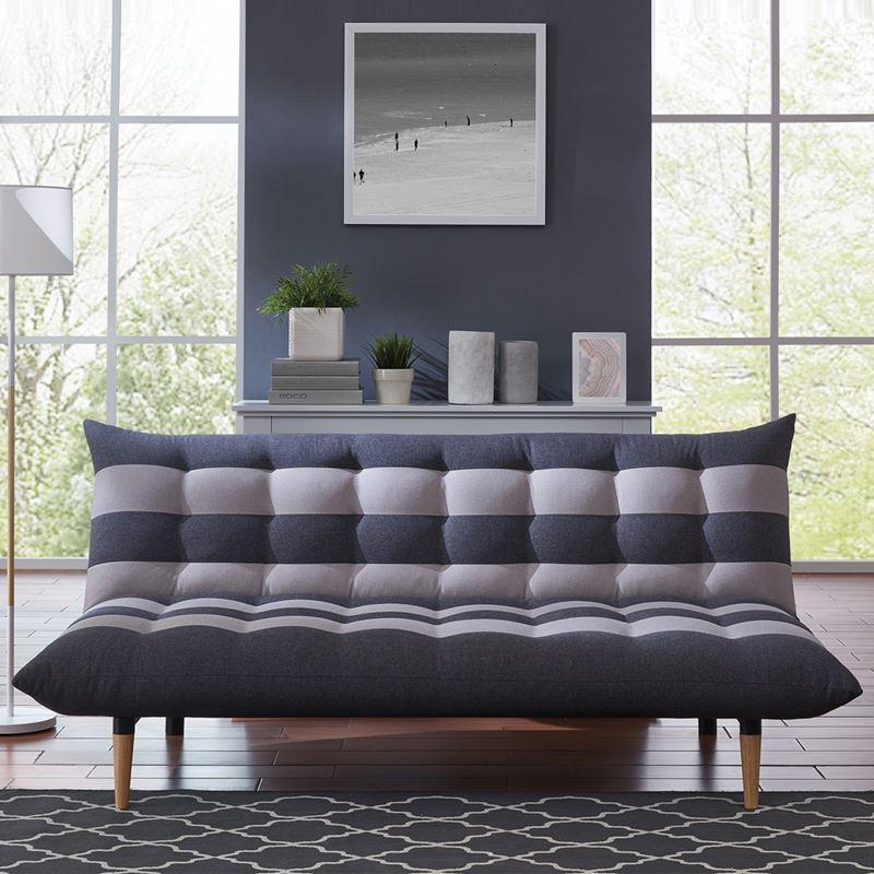 Καναπές - κρεβάτι Vox με επένδυση από ύφασμα σε χρώμα ριγέ γκρι 189x95x86εκ
