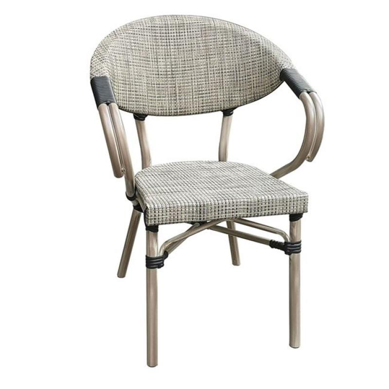 Πολυθρόνα αλουμινίου Costa σε antique grey χρώμα και ύφασμα μπέζ Ε286,1