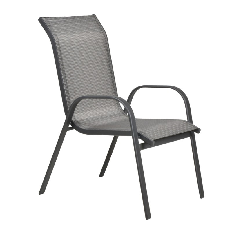 Πολυθρόνα αλουμινίου NANDIA σε χρώμα ανθρακί και ύφασμα textilene γκρί 01.02.0345
