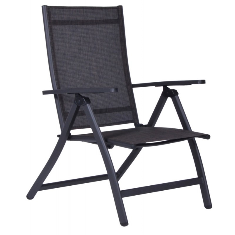 """Πολυθρόνα αλουμινίου """"SONATA"""" 5 θέσεων με textilene σε χρώμα ανθρακί"""