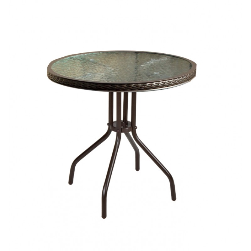 """Τραπέζι αλουμινίου """"ROCCO"""" σε σκ. χρώμα καφέ με στεφάνι από πλέξη wicker Ø60x71εκ. HOMEPLUS 01.02.0213"""