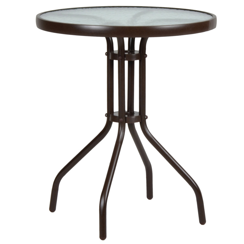 """Τραπέζι αλουμινίου """"LIMA"""" σε χρώμα καφέ Ø60x71εκ."""