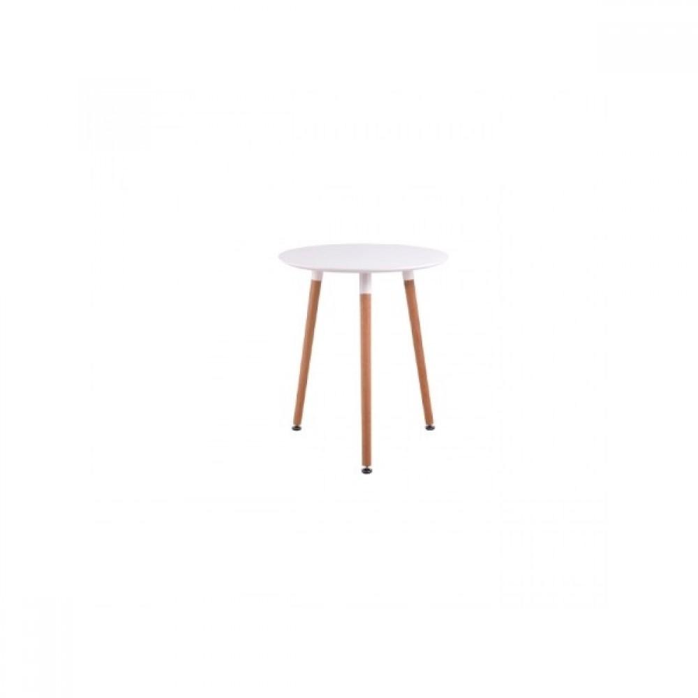 Τραπέζι Art ξύλινο Φ60Χ68 απο MDF σε λευκό χρώμα και ξύλινα πόδια σε φυσικό χρώμα E7089.1