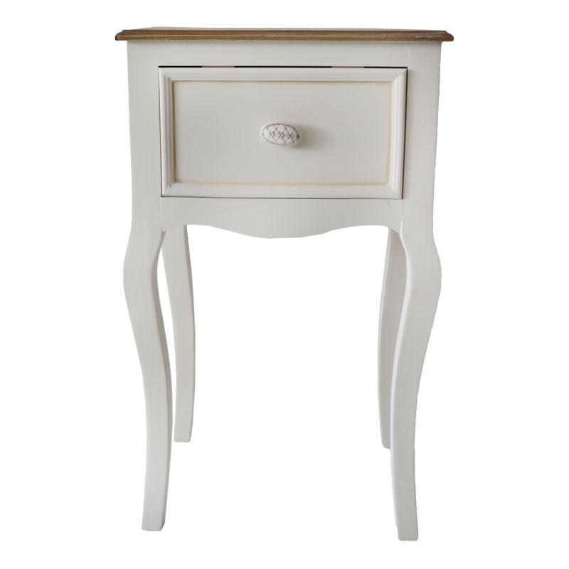 Βοηθητικό τραπέζι ξύλινο με 1 συρτάρι σε χρώμα antique cream 01.01.0782