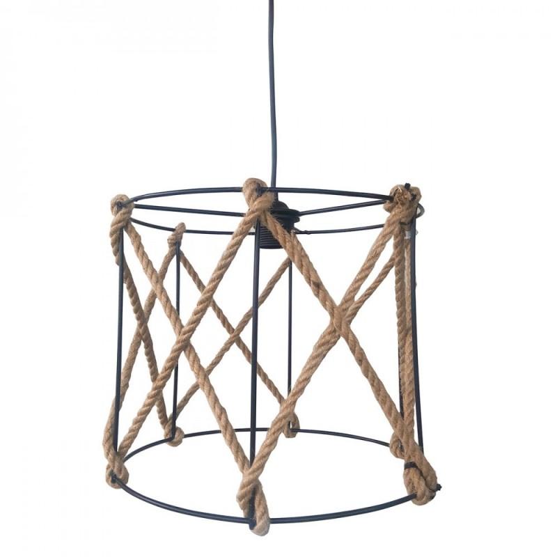 """Φωτιστικό οροφής μεταλλικό """"VERDA"""" με σχοινί σε χρώμα μαύρο 31x31x27εκ.  07.04.0387"""