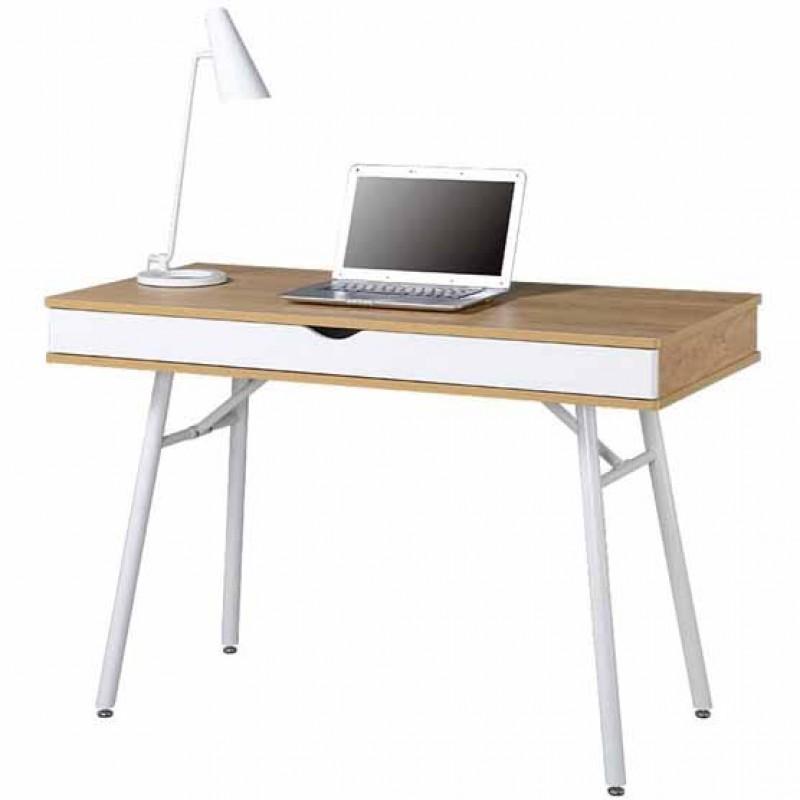 Γραφείο εργασίας με μεταλλικό σκελετό και ξύλινη επιφάνεια σε άσπρο/beech χρώμα EO420