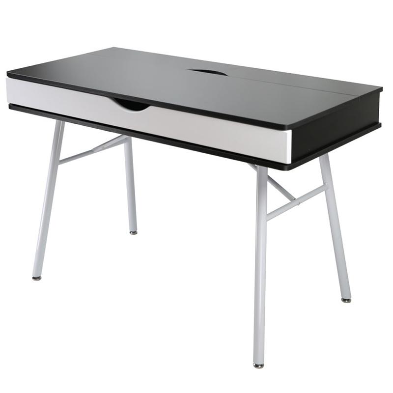 Γραφείο εργασίας με μεταλλικό σκελετό και ξύλινη επιφάνεια σε άσπρο/wenge χρώμα EO420.1