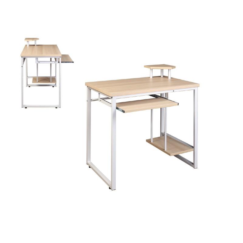 Γραφείο εργασίας με μεταλλικό σκελετό και ξύλινη επιφάνεια σε beech χρώμα EO407.1