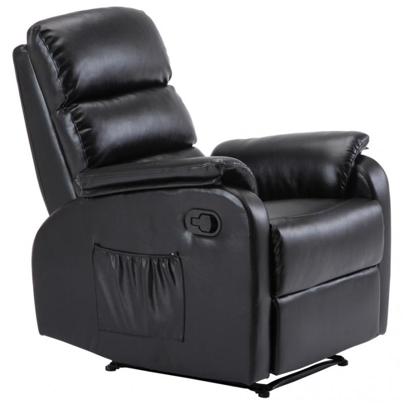 Πολυθρόνα relax COMFORT με επένδυση από μαύρο PU Ε9732,2